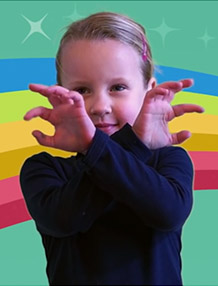 Kid signing spider in ASL. Learn ASL online